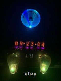 Tubes Nixie Clock In-14. Cuivre Steampunk, Laiton Et Verre! Ammètre Vintage & Tubes