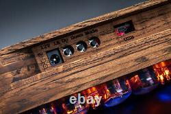Tubes Nixie Horloge Sur In-12 Chêne Vintage Cas En Bois Temp. F/c 12/24h Machine À Sous