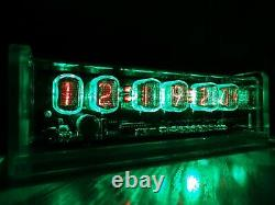Unique 6 X In-12 Tubes Nixie Horloge De Cas Et Rétro-éclairage Et Alarme Vert Acrylique